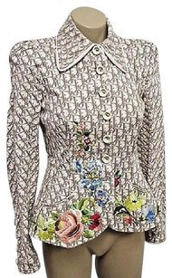 Dior Christian Runway Floral Embroidered Logo Cream & Taupe Jacket