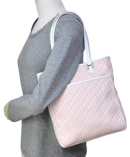 Dior Lady Cannage Quilted Tote in Pink & White