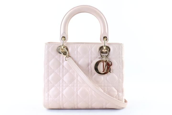 Dior Lady Dior Quilted Cannage Medium 2way 21dr1127 Light Pink ... : dior quilted bag - Adamdwight.com