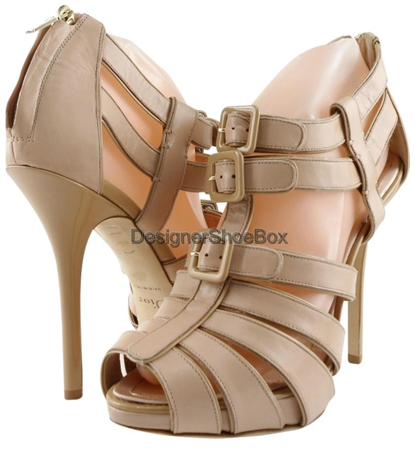 Dior Nude Christian Kce374kvn Leather Designer Strappy Heels Eur 38 Sandals Size US 7.5 Regular (M, B)