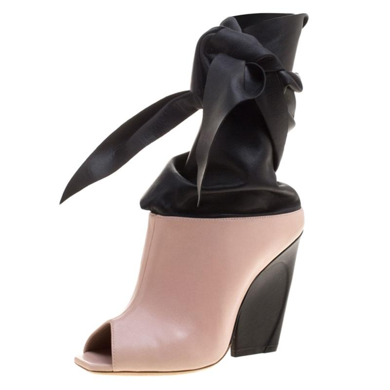 5eb7759e7af Dior Pink Blush and Black Leather Brooklyn Ankle Ankle Ankle Wrap Peep Toe  Ankle Boots Booties Size EU 39 (Approx. US 9) Regular (M