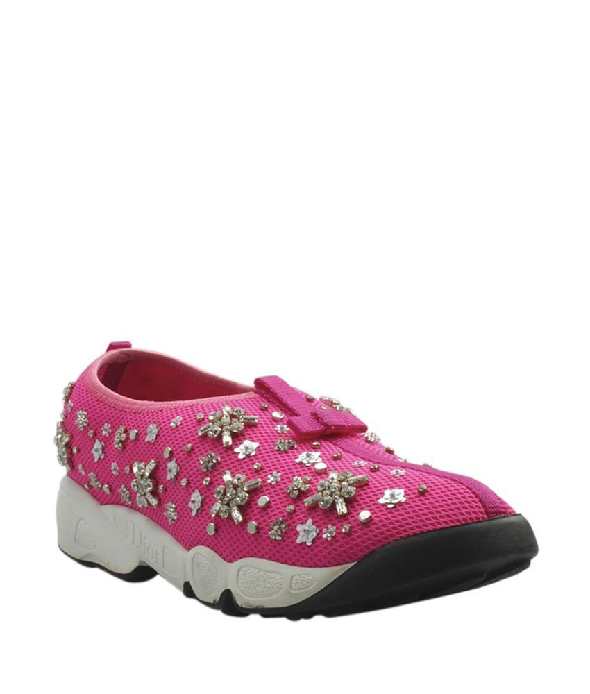 Dior Pink Technical Fabric Crystal Embrodered Fusion Sneakers Sneakers Size EU 39 (Approx. US 9) Regular (M, B)