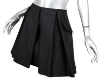Dior Christian Womens Rt Classic Silk Pleated Short Skirt Black