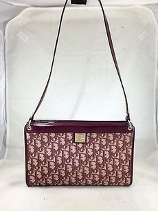 Dior Christian Vintage Leather Signature Fabric Shoulder Bag