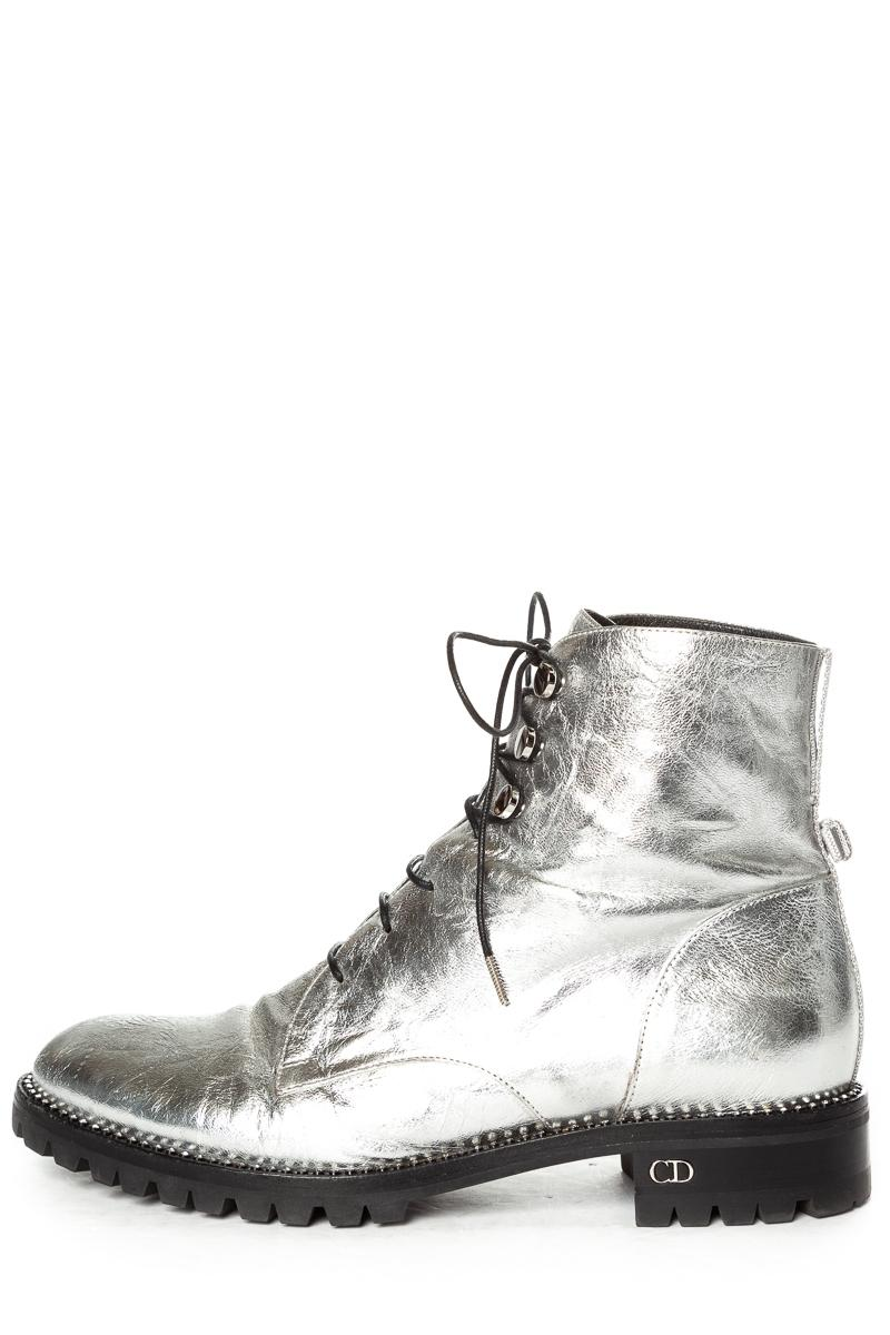 Dior Silver Christian Leather Rebelle Boots/Booties Size EU 37.5 (Approx. US 7.5) Regular (M, B)