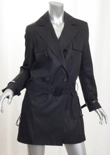 Dior Christian Womens Wool Belted Trench Jacket 408 Trench Coat