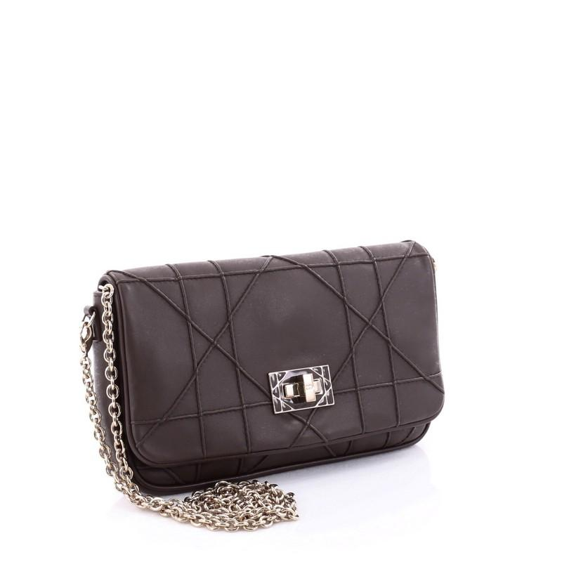 Dior Turn Lock Chain Wallet Cannage Quilt Small Brown ...