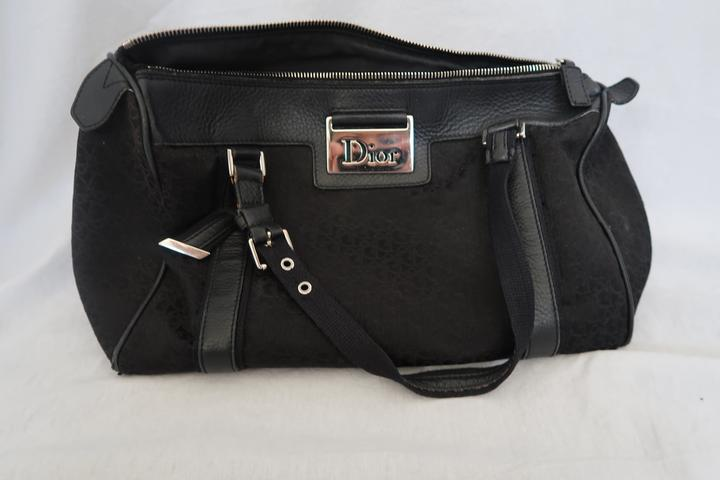 Shoulder Diorissimo Canvas Black Dior Vintage Boston Bag XBnRTZx