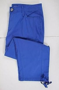 DKNY Womens Solid Blend Cropped Trousers Capri/Cropped Pants Blue