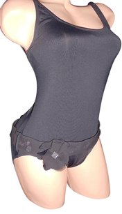 DKNY DKNY BLACK FLOWER BODYSUIT BELT ROCKABILLY RHINESTONE CRYSTAL 10 CHIC DESIGNER