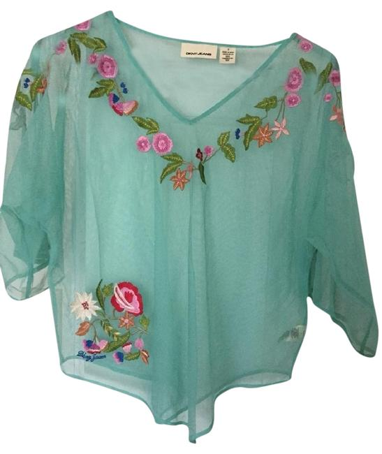 DKNY Top Turquoise and Embroidery