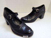 DKNY Leather Mary Jane Heels Italy Black Pumps