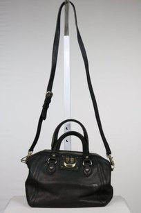 DKNY Womens Metallic Satchel in Black