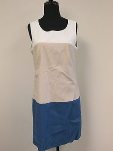 DKNY short dress Multi-Color Beige Blue Off White Lined Scoop Neck Sleeveless Back Zip F440 on Tradesy