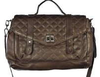DKNY Womens Metallic Leather Quilted Handbag Shoulder Bag