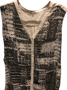 DKNY Silk Sheer Top Black and white