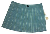 DKNY Pleated Stripe Mini Skirt Gray Blue Black Yellow Plaid