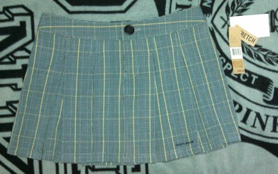 DKNY Pleated Stripe Juniors Mini Skirt Gray Blue Black Yellow Plaid