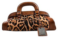Dolce&Gabbana Miss Romantique Brown Leopard Printed Calf Hair Handbag Tote in Multi-Color