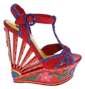 Dolce&Gabbana Dolce & Gabbana D&g Red Multicolor Wedges
