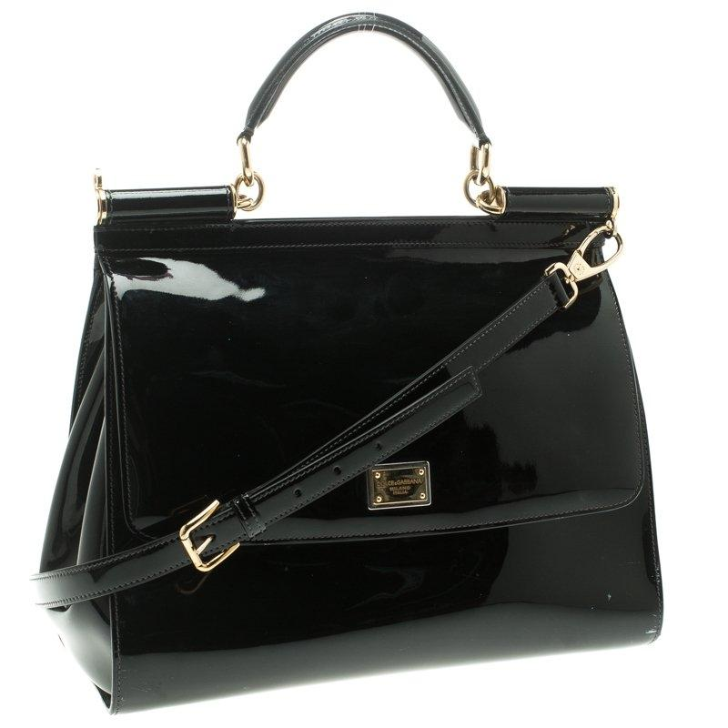 Black patent leather sicily bag H896T5biD