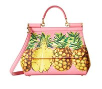Dolce&Gabbana Sicily Medium Pineapple Tote in Pink