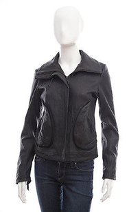 DOMA Leather Biker Moto Black Jacket