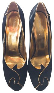 Donald J. Pliner Vintage Gold Heels BLACK/SUEDE Pumps