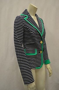 Donna Degan Donna Degnan Navygreen Striped Stretch Knit Blazer Jacket 0 130335e