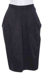 Donna Karan Nylon Spandex Stretch Pleated Vented Business Classic Skirt Black