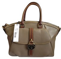 Dooney & Bourke Chic Leather Classic Designer Satchel in Taupe with chestnut trim