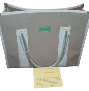 Dooney & Bourke Cotton Leather Removable Pouch New Tote in tan and green