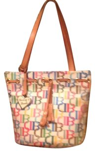 Dooney & Bourke Tote in Brown Yellow Red Blue White Tan