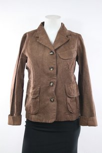 dosa Dosa Brown Brown Distressed Cotton Jacket Blazer 1