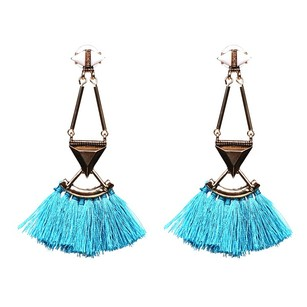 Dot Style Blue Tassel Earrings