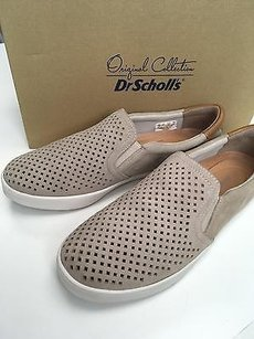 Dr. Scholl's Dr Suede Perforated Slip On Fashion Sneaker W Box Bone Flats