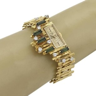 Ebel Ebel Vintage 3.50ct Diamonds Tourmaline 18k Yellow Gold Form Ladies Watch