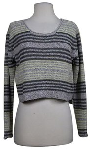 Ecote Womens Striped Boat Neck Cropped Sweater