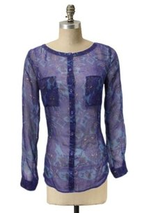 Ecote Sheer Urban Outfitters Navy Teal Paisley Vintage Top navy multi