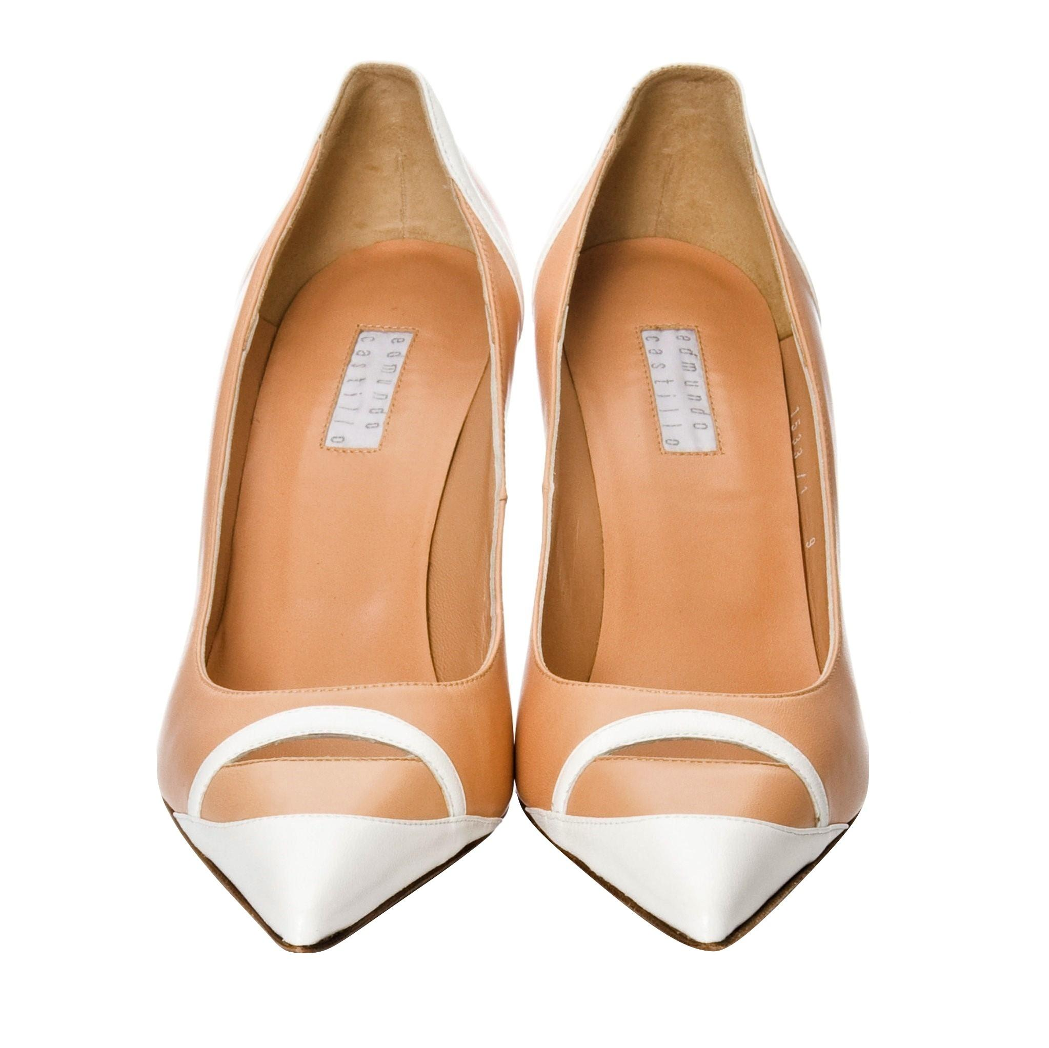 Edmundo Castillo New Rare Peach and White Leather Pumps Size US 9 Regular (M, B)