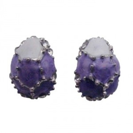 Purple Egg Shaped Lilac White W/ Crystals Earrings