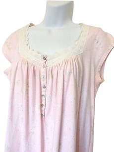 Eileen West Eileen West Nightgown Pink With Floral Design Short Sleeve Lace Neckline