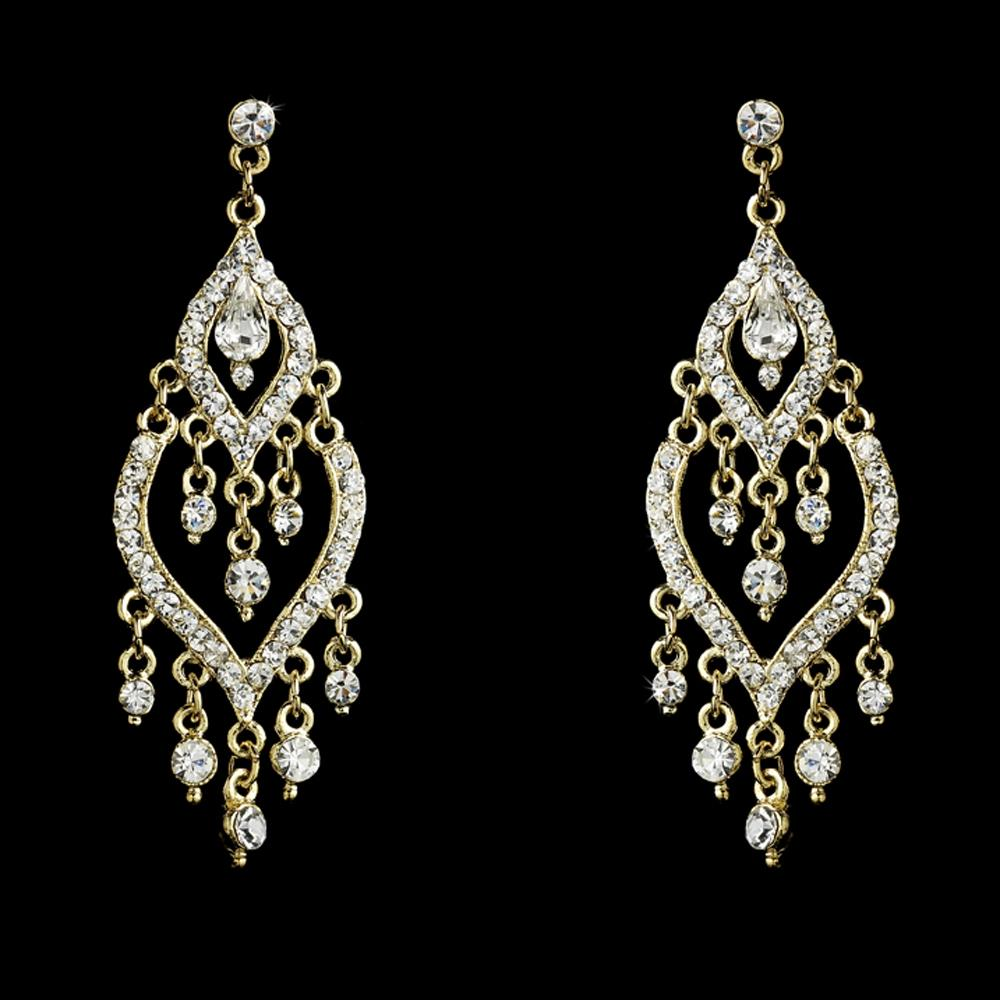 Elegance by Carbonneau Gold Chandelier Prom Earrings