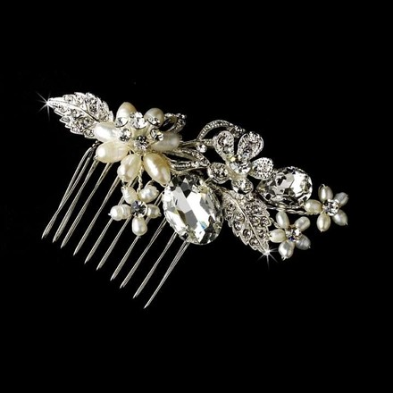 Elegance by Carbonneau Silver Freshwater Pearl Crystal Comb Hair Accessory
