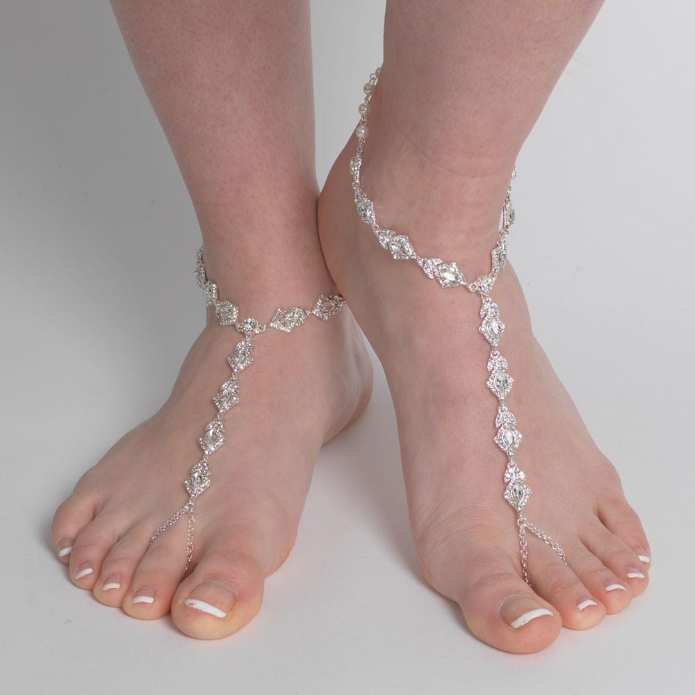 Elegance by Carbonneau Silver Rhinestone Bridal Wedding Foot Jewelry