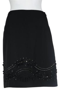 Elie Tahari Womens Silk Beaded Career Wtw Skirt Black