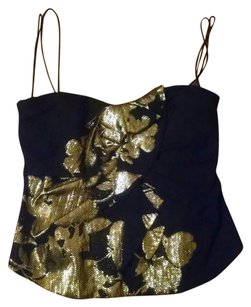 Elie Tahari Beatiful Unique Fabulous Top black gold