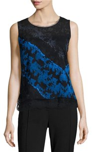 Elie Tahari Cayden Lace Silk Top Black / Blue