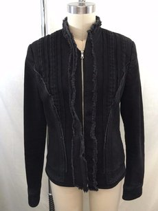 Elie Tahari Denim Black Jacket