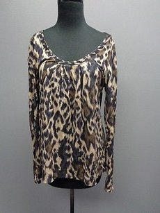 Elie Tahari Stretchy Scoop Neck Sma6057 Top Brown Blue And Tan